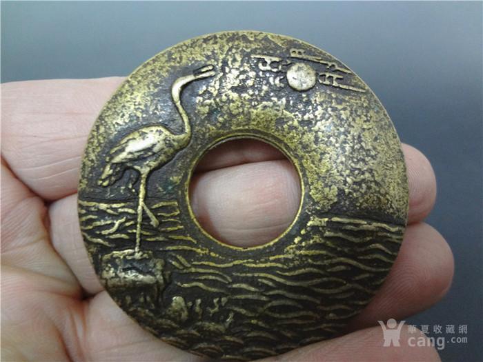 清代圆形一品当朝仙鹤图纹铜器