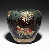紫藤鸳鸯画缸 宜兴均陶 全手工制作  国家级工艺美术员