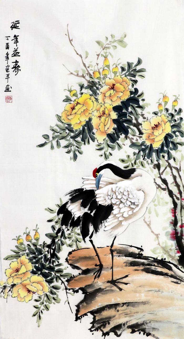 国画花鸟三尺竖幅写意花鸟