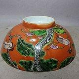 清代珊瑚红松鹤描金题诗绘画碗
