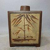 清代紫砂双面绘画茶叶罐