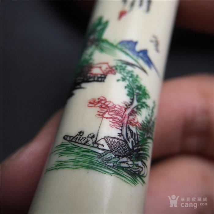 玉泉文玩W749民国解放初稀有材质微雕加彩圆柱山水画印章