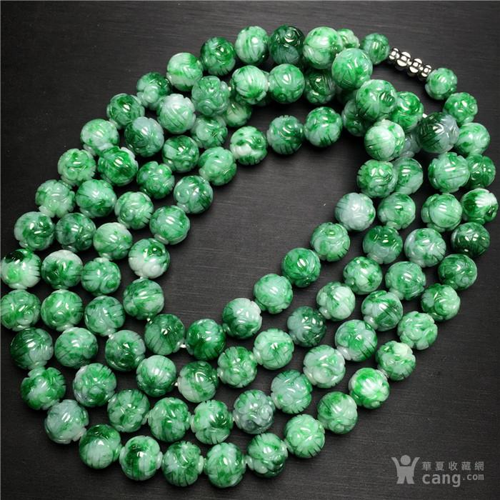 玉泉文玩W743回流老库存糯冰种飘绿翡翠团寿如意纹圆珠项链
