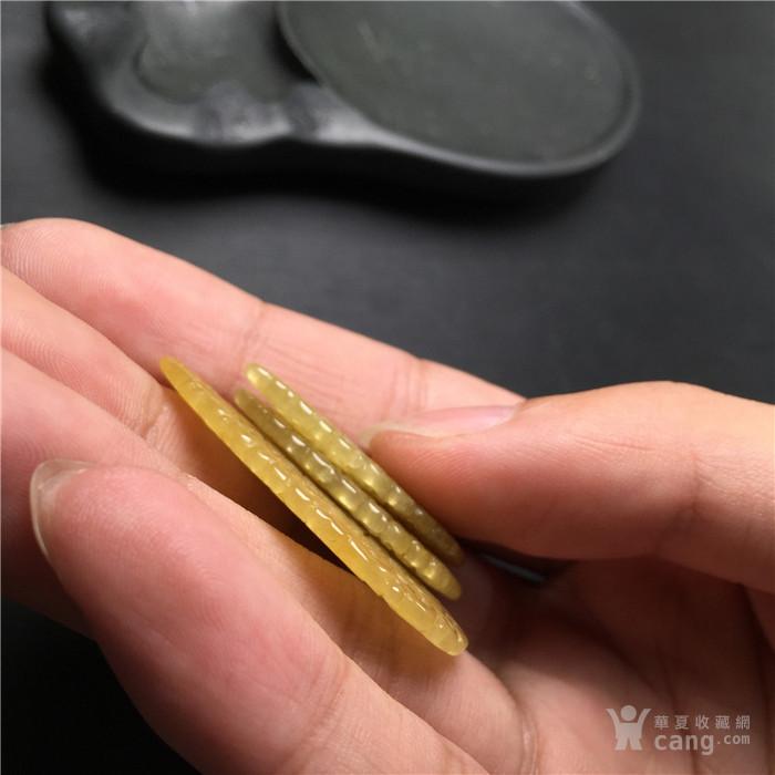 玉泉文玩w875创汇期天然黄翡翡翠缠枝花卉纹花片三件套