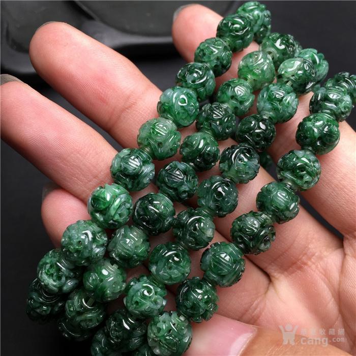 玉泉文玩w881回流老库存糯冰种满绿翡翠团寿龙纹圆珠项链