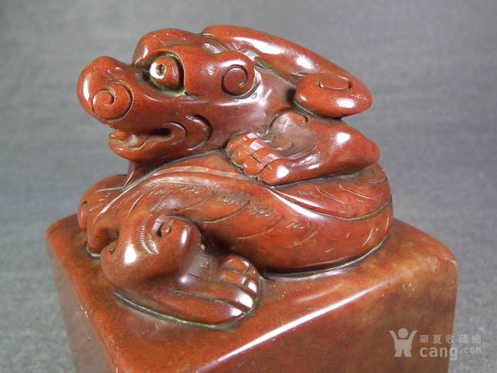 老红寿山石卧兽方形大印章图5