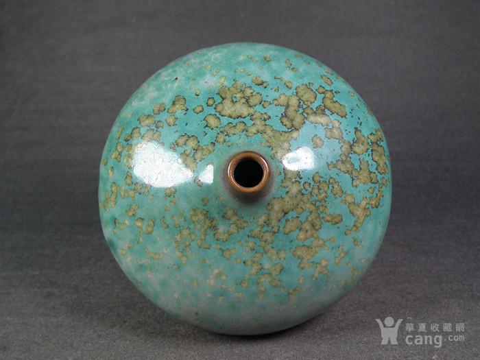 绿釉窑变束腰小口瓶图3