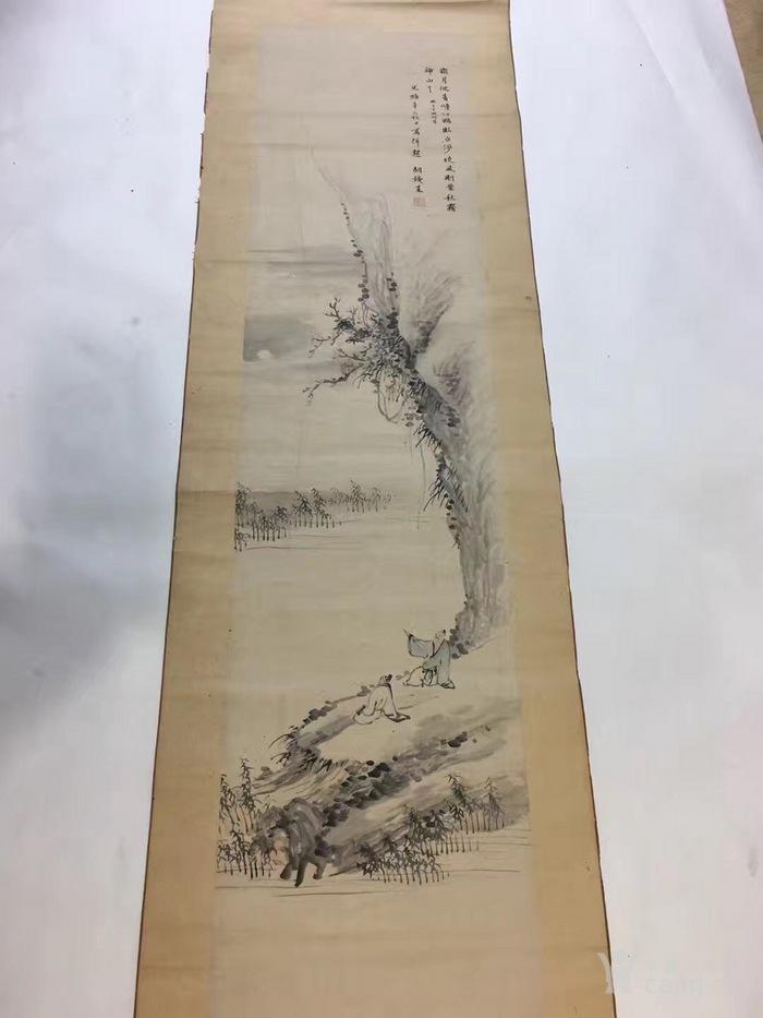 原装老裱清代著名书画家  胡�梅 绘画山水人物土图书画�熘�