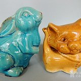 老瓷动物摆件两个