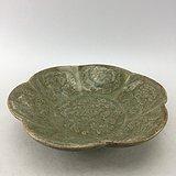 花卉绿釉瓷碗A4976