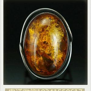 老的纯银波罗的海花琥珀戒指  1712.15