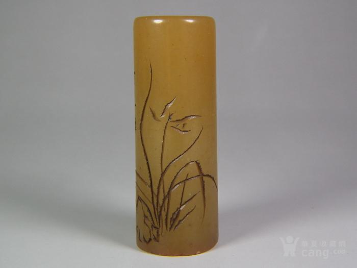 老黄寿山石兰花大长圆形印章图1
