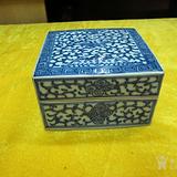 官窑画工  釉水一流  乾隆青花四方粉盒 完整包老