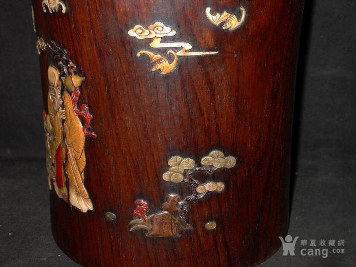 老木雕红木 嵌多宝 福寿安康