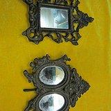 造型漂亮  胎体厚重  清代宫廷铜镜框一对  完整包老