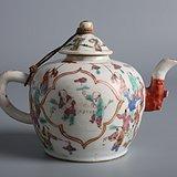 画工一流   百子图  粉彩茶壶   釉水漂亮  完整包老