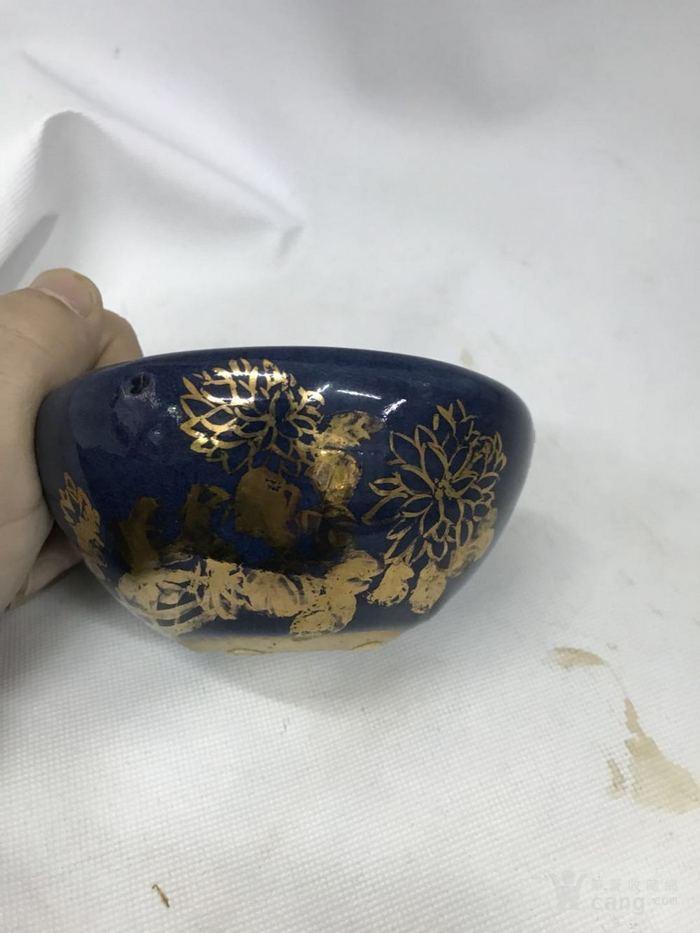 蓝釉笔洗图1