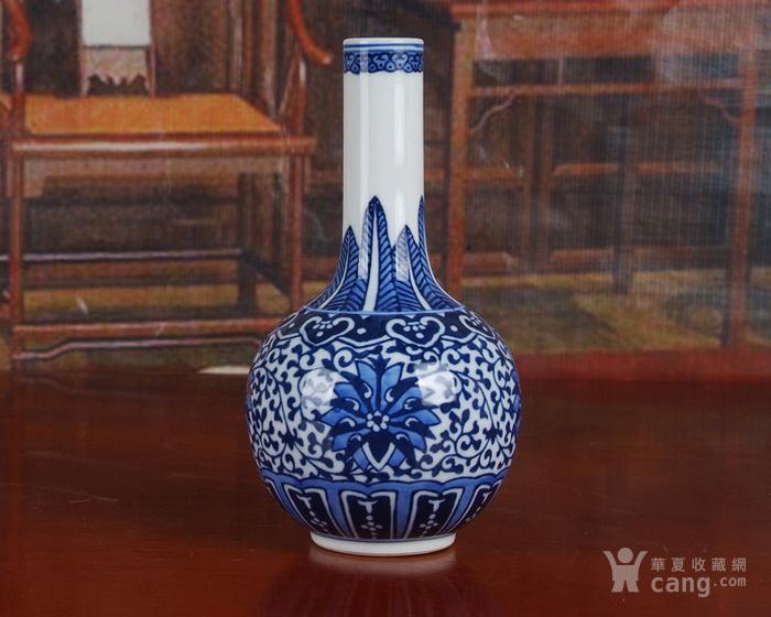 创汇瓷 建国瓷厂青花洋莲天球瓶