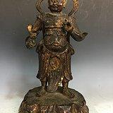 老铜泥金韦陀像