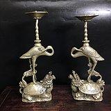 民国时期白铜鎏银龟鹤蜡台