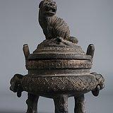 名家款识  宫廷雕工 狮子鼎 完美包老