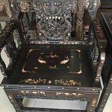 品相一流包浆浓厚黑檀木镶嵌贝壳太师椅三件套