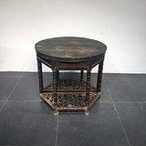 明代黑大漆竹节工圆对桌