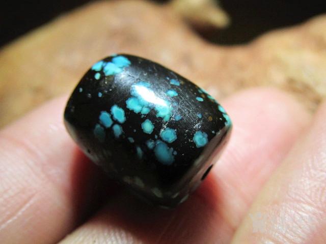 晚清 精美 原矿 高瓷 蓝黑褐 三彩 乌兰花松石 桶珠