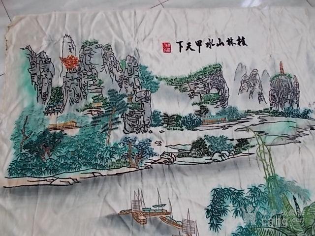 大幅桂林山水风景刺绣图片