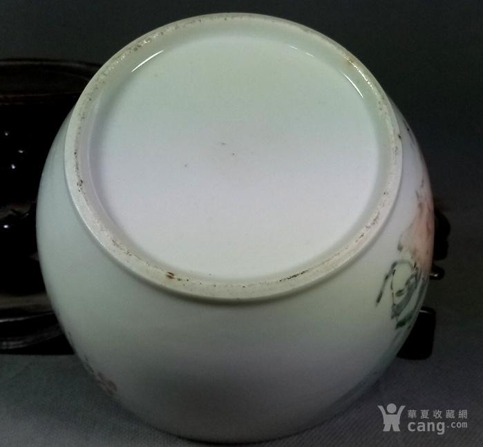晚清:马庆云本人作品浅降精绘人物石榴盖罐 基本完好