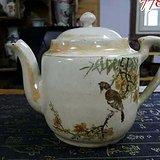 民国磁州窑粉彩花鸟大茶壶和民国釉下彩山水小茶壶2只