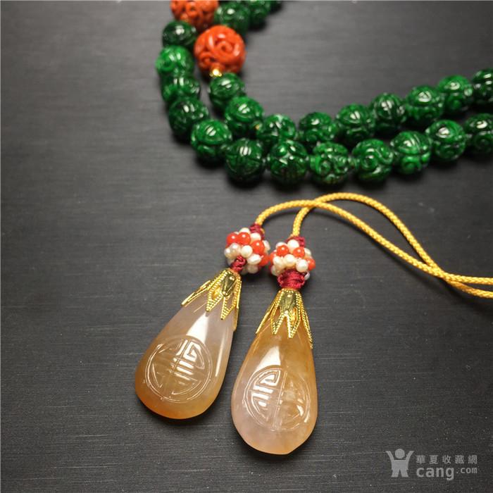 x84手工精编糯冰种满辣绿翡翠团寿龙纹108子佛珠项链