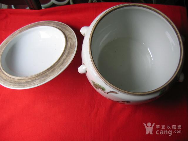 民国粉彩麻姑献桃纹粥罐 包老