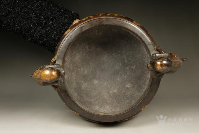 清代紫铜鎏金龙纹双兽身耳铜炉,造型大气包浆老道,包老