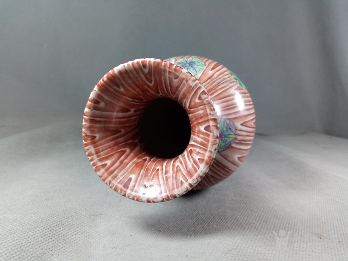 清道光:木纹釉削肩观音瓶 基本完品  名品