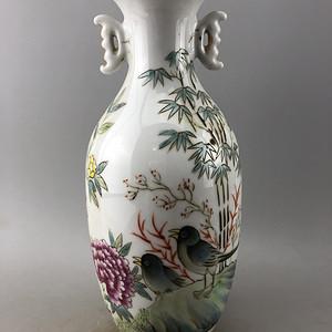 粉彩花鸟双耳瓷瓶A5624