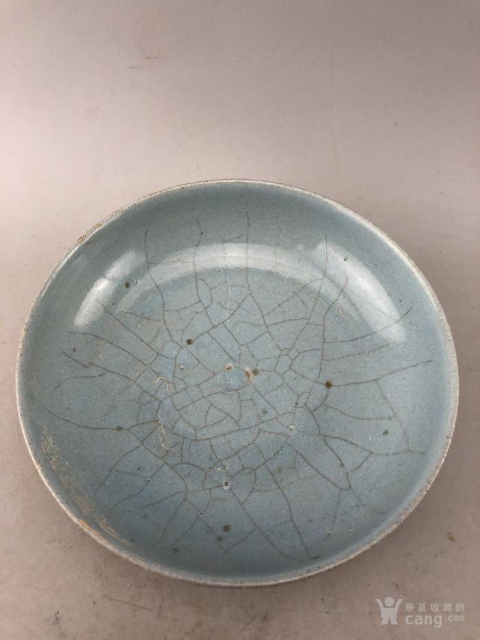 蓝釉素面面开片瓷盘A5669图2