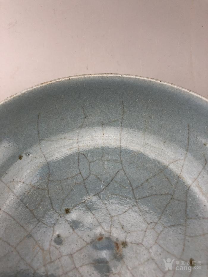 蓝釉素面面开片瓷盘A5669图3