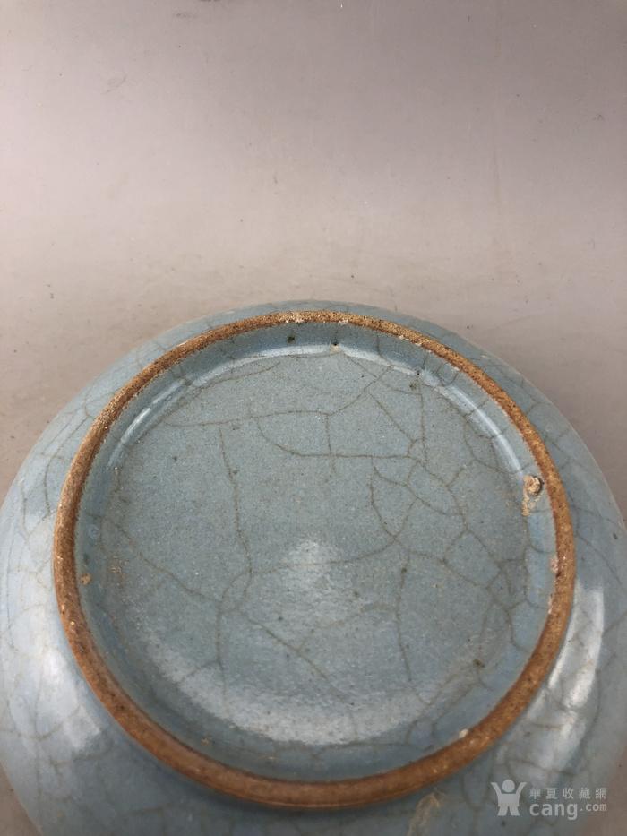 蓝釉素面面开片瓷盘A5669图4