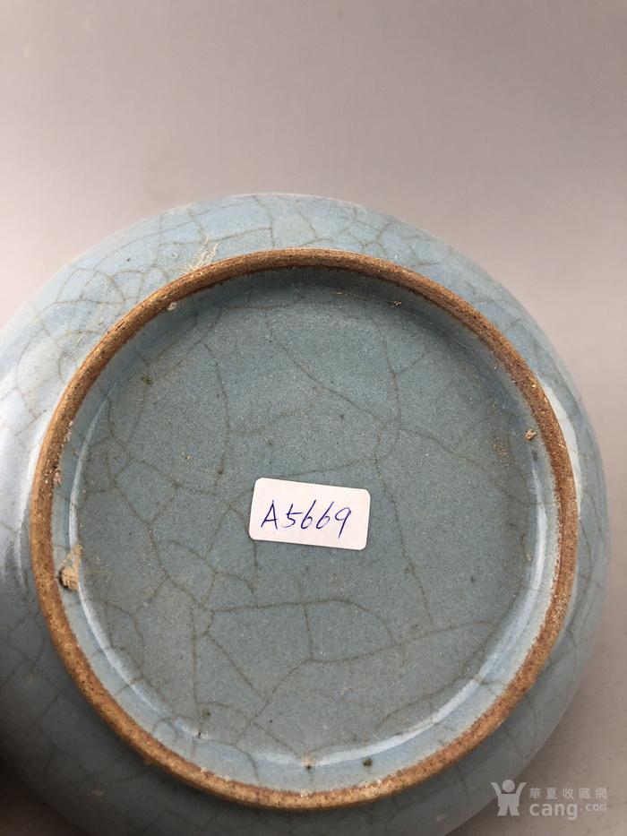 蓝釉素面面开片瓷盘A5669图6