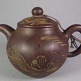 老红泥紫砂堆塑山水纹大茶壶