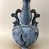 蓝釉双耳瓷瓶A4784