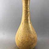 黄釉花卉瓷瓶A4921