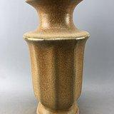 黄釉开片瓷瓶A2929