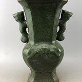 绿釉双耳开片瓷瓶A2934