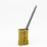 清晚期  黄釉仿竹节纹双联笔插