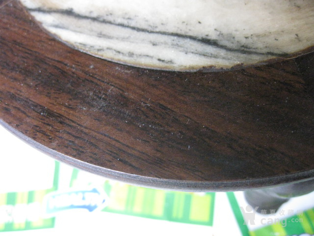 老红木,嵌大理石花架。直径17.8厘米