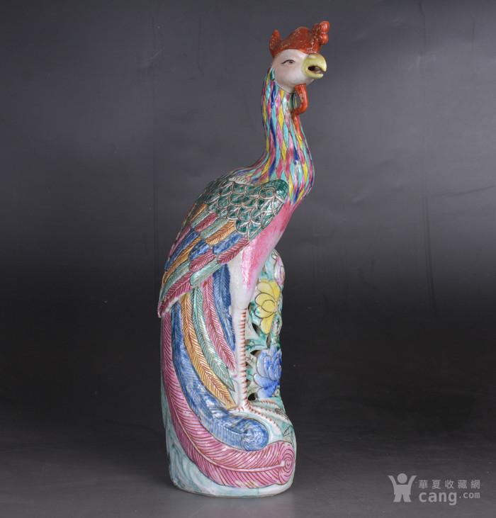 晚清 粉彩凤凰 瓷塑图1
