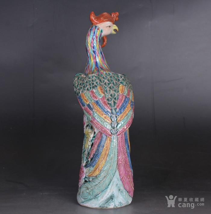 晚清 粉彩凤凰 瓷塑图3