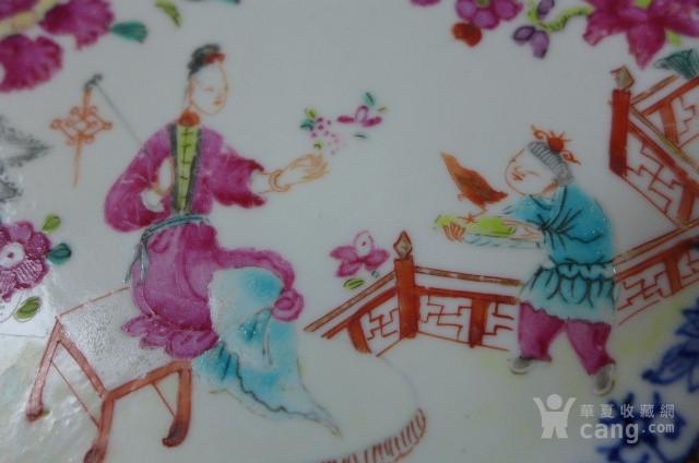 青花粉彩教子图八*盘